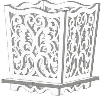 طرح معرق مشبک گلدان چوبی،دانلود الگوی مشبک سه بعدی گلدان